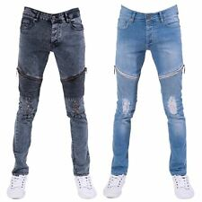 SEVEN SERIES MENS SUPER SKINNY FIT RIPPED DISTRESSED STRETCH DENIM BIKER JEANS