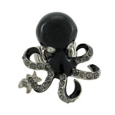Silvertone Octopus Stretch Ring Rhinestone Accents
