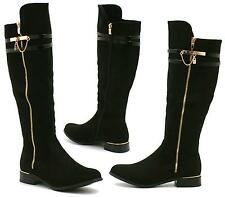 NEW WOMENS KNEE HIGH FLAT HEEL LADIES GOLD BUCKLE ZIP RIDING LONG BIKER BOOTS