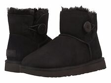 Women's Shoes UGG Mini Bailey Button II Boots 1016422 Black *New*