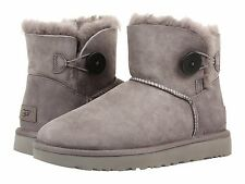 Women's Shoes UGG Mini Bailey Button II Boots 1016422 Grey *New*