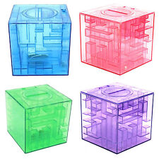 5X(Plastic Cubic Money Maze Bank Saving Coin Collection Case Box 3D Puzzle HY