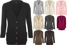 New Womens Cable Knitted Button Cardigan Long Sleeve Ladies Boyfriend Top
