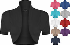 New Plus Size Womens Plain Short Sleeve Ladies Shrug Bolero Cardigan Top