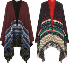 New Womens Reversible Aztec Knitted Pattern Tassel Top Cape Shawl Ladies Poncho