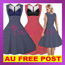 Women 50s Rockabilly Vintage Evening Retro Pinup Swing Housewife Polka Dot Dress