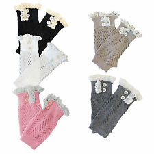 10X(Knit Boot Cuff Liner With Lace Trim HY