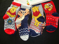DISNEY POOH & TIGGER SET OF 4 PAIRS SOCKS NWTS FUN & FUZZY TEXTURED DESIGNS