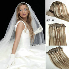 Clips in Real Human Remy Hair Extensions Mixed colours #8/613 Full Head Set