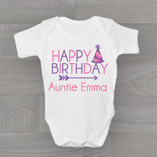 Personalised Happy Birthday Auntie Cute Baby Grow Body Suit Vest Girls