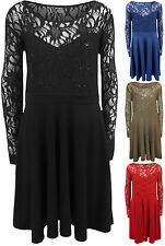 New Plus Size Womens Lace Sequin Long Sleeve Ladies Party Skater Dress