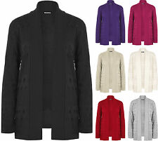 New Plus Size Womens Knitted Long Sleeve Plain Open Top Ladies Cardigan