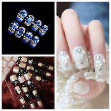 Fashion 24pcs 3D Bride Wedding False Artificial Fake Nails Tips French NEW TY