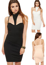 Womens Choker Strappy Knee Length Dress Ladies Bustier Padded Bra Sleeveless Top