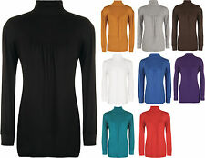 New Ladies Stretch Polo Neck Long Sleeve Womens Gathered Ruched Plus Top
