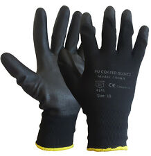 12 PAIRS PU COATED BLACK SAFETY WORK GLOVES GARDEN MENS BUILDERS