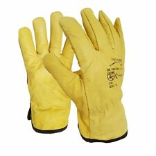 10 Pairs Leather Lorry Drivers Work Gloves Fleece Cotton Lined DIY Quality