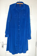 Long Tall Sally shirt dress bright blue size 14 draw string waist