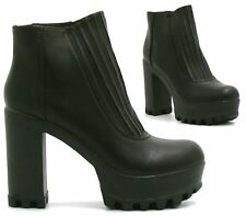 Women's Black Chunky High Heels Shoes Platform Punk Goth High Top Ankle Boots