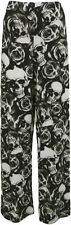 Plus Size Womens Skull Roses Print Palazzo Trousers Ladies Wide Leg Pants