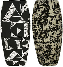 New Womens Plus Size Letters Print Black White Ladies Tie Dye Maxi Skirt