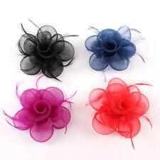 Fancy Women Party Races Sinamay Feather Flower Clip Beach Wedding Fascinator