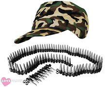ARMY CAP AND BULLET BELT CAMOUFLAGE HAT MILITARY SOLDIER FANCY DRESS LADIES MENS