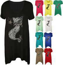New Womens Plus Size Cat Stud Short Sleeve Ladies Hanky Hem T-Shirt Tunic Top