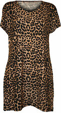New Womens Plus Size Animal Leopard Print Short Sleeve Ladies T-Shirt Top