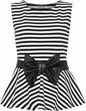 Womens Plus Black White Striped Quilted Bow Peplum Sleeveless Ladies Party Top
