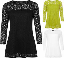 New Womens Plus Soft Stretch Floral Lace Long Sleeve Lined Insert Ladies Top