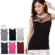 Summer Women Embroidered Vest Tops Sleeveless Lace Floral Casual Blouse T-Shirts