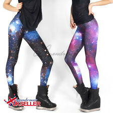 UK Sexy Womens 3D Graphic Galaxy Printed Leggings Pant Yoga Gym Funky Jegging