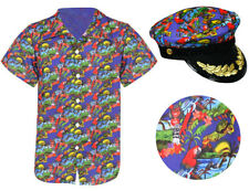 BLUE 2 PIECE HAWAIIAN CAPTAIN COSTUME SHIRT AND HAT SUMMER FANCY DRESS PARTY