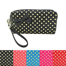 Premium Chic Small Polka Dot Bow Double Zip Wristlet Cosmetic Travel Makeup Bag