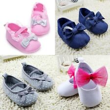 0-18M Toddler Baby Girl Bowknot Shoes Elastic Band Slip On Casual Crib Shoes