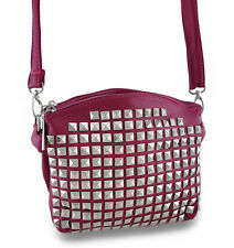 Textured Vinyl Pyramid Studded Cross Body Purse w/Removable Strap