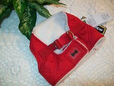 RED QUILTED Shearling Dog Body Harness Vest XS S M Pup Crew new puppy pet