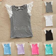 New Baby Girls Toddler Kid Lace Ruffle T-shirt Top Clothes Casual Vest Tee Shirt