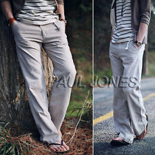 Summer Mens Casual Linen Slacks Loose Pants Beach Drawstring Long Trousers Sale