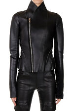 RICK OWENS LILIES New Women Black Leather Zip Jacket PRINCESS