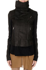 RICK OWENS Women Black CLASSIC BIKER SHORT Jacket Made in Italy New
