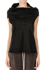 RICK OWENS Women Black Leather CRATER TOP Made in Italy New with Tag