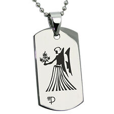 Stainless Steel Astrology Virgo Zodiac Sign Mens Dog Tag