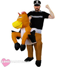 POLICEMAN RIDING INFLATABLE HORSE COSTUME POLICE FANCY DRESS STAG FUNNY NOVELTY
