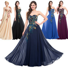 Peacock Bridal Long Dress Cocktail Formal Evening Party Ball Gown Prom Chiffon