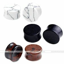 6x Turquoise Mahogany Obsidian Ear Double Flared Plugs Stretcher Gauges Piercing