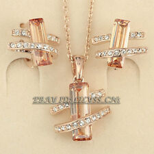 A1-S054 Fashion Simulated Gemstone Earrings Necklace Jewelry Set 18KGP Crystal