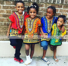 Kids Dashiki African Boys Girls Shirt Mexican Poncho Hippie Top Blouse Children