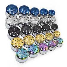 1PAIR MANDALA FLOWER EAR PLUG EAR GAUGE STAINLESS STEEL SCREWED TUNNEL PIERCING